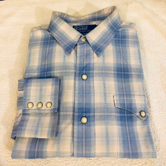 Polo by Ralph Lauren Other - Polo Ralph Lauren Blue Plaid Pearl Button Shirt L
